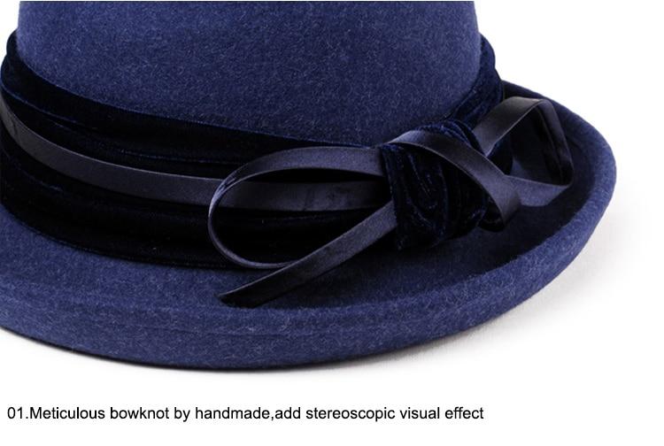 5_Vintage Wide Brim Hats Felt Women Navy Blue Wool Fedora Warm Ladies Bowknot Top Cloche Hat 2018 Chapeau Femme