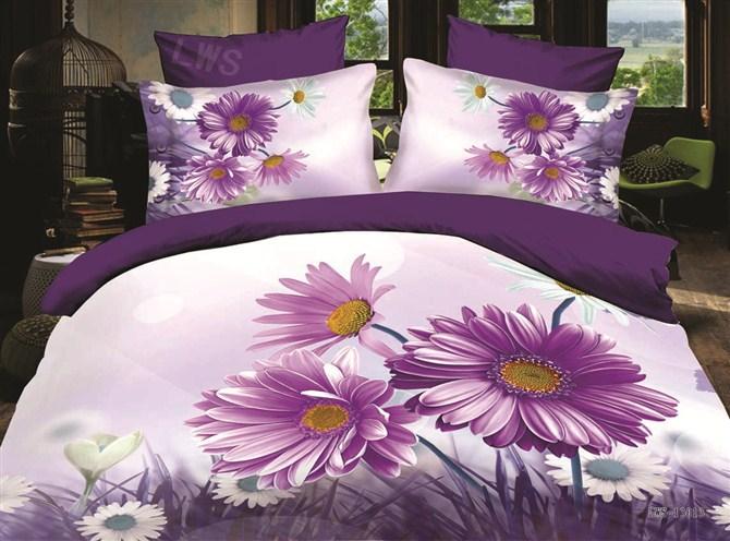 3d Oil Painting Bedding Set Sunflower Purple Queen