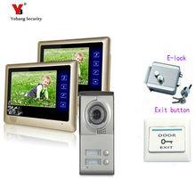 Yobang Security freeship 7″ Color Apartment Doorbell Doorphone Video Intercom 1 Outdoor Camera+2 Monitors for 2 Family / House