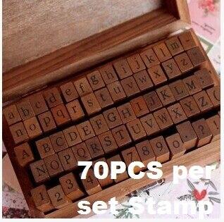 70 Pcs Set DIY Stamp Standard Alphabet Number Symbol Wooden Box Vintage Scrapbooking Stationary Office School