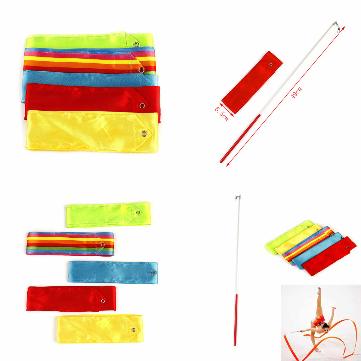 6m New Gym Dance Ribbon Stick Art Rhythmic Gymnastics Ballet Streamer Twirling Rod