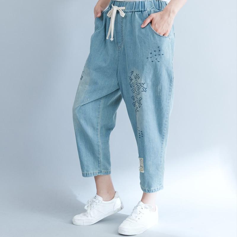 Jeans Boyfriend Taille Denim Lâche Vintage Élastique Femme 2018 Femmes Bleu Grande Pantalon Broderie D'été YBAwxqq