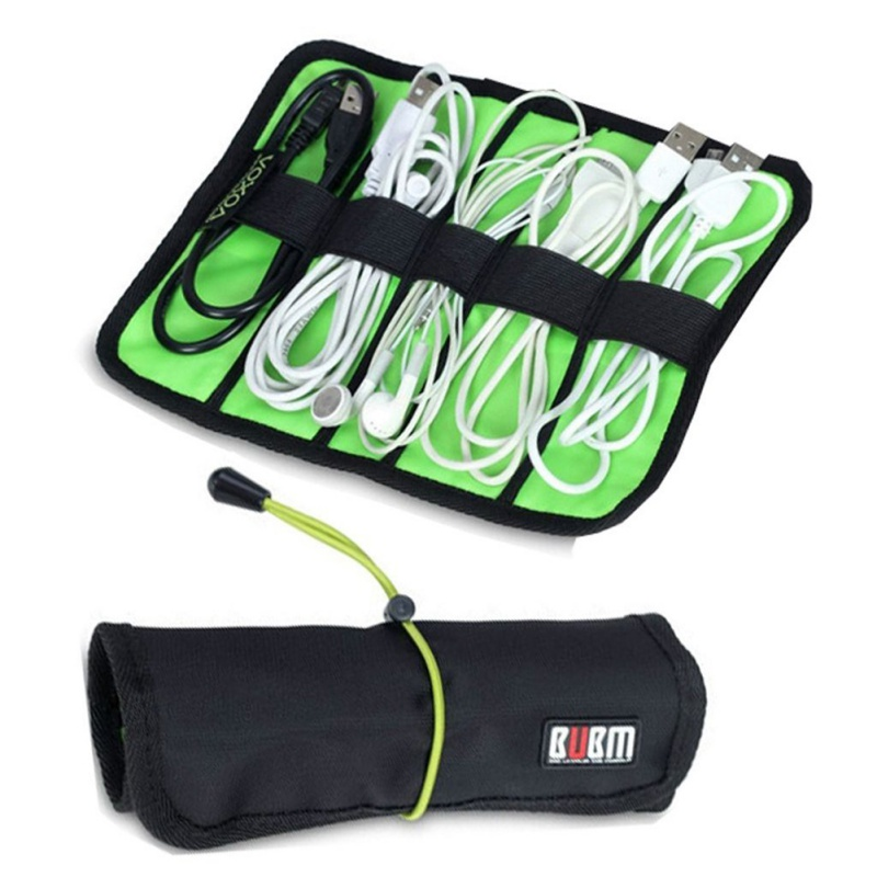 Mini Size Portable Cable Organizer Bag can put USB Cables Earphone Pen Roll Up Storage Bags Useful