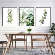 Скандинавская ботаническая Картина на холсте плакат зелень настенное