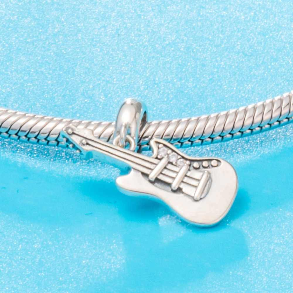 RainMarch 925 Silver Beads Fits Pandora Charms Bracelet Original 925 Silver Beads Wholesale Guitar Pendant Women Jewelry Making