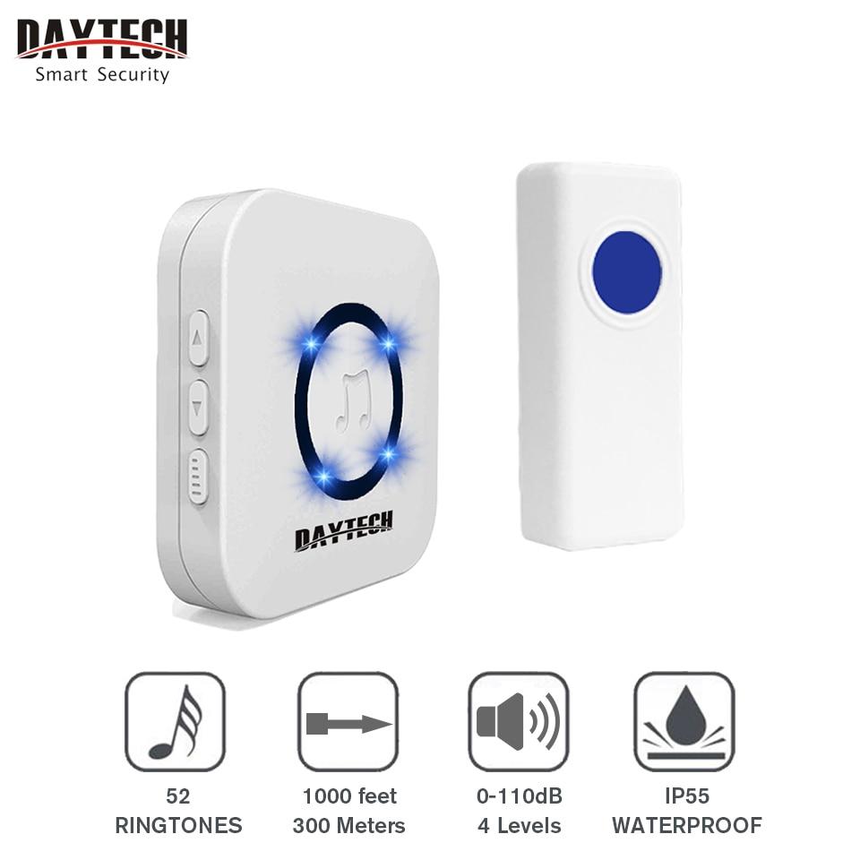 DAYTECH Wireless DoorBell Chime Waterproof Door Bell Alert Chime Waterproof Ring Bell Home Cordless Smart Doorbells 52 Ring Tone ks v2 welcom chime bell sensor