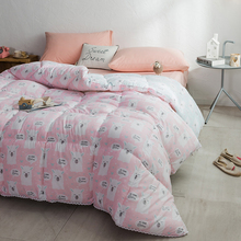 J pinno Washed Cotton Quilt Comfoters Sheep Alpaca Pink Cute Cartoon Soft Polyester Throw Kid Teenager Home Textile Bed Gift