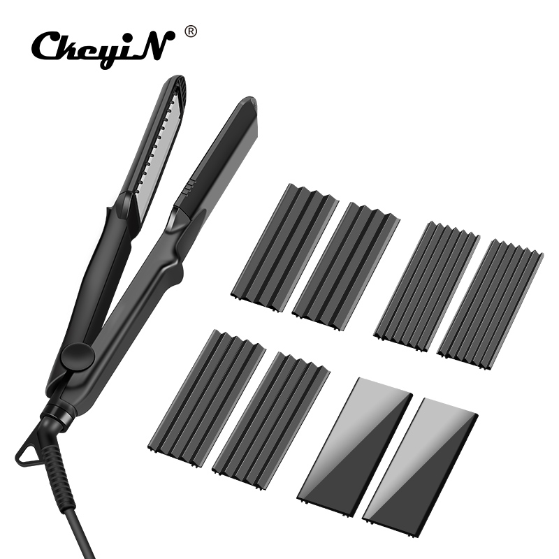 100-240V 4 In1 Hair Straightener Corrugated Curler Crimper Ceramic Fast Straightening Flat Iron Electric Corn Waver Curling Wand ckeyin 110 240v electric straightening iron ceramic corrugated hair crimper straightener corn plate fast straight hair flat iron