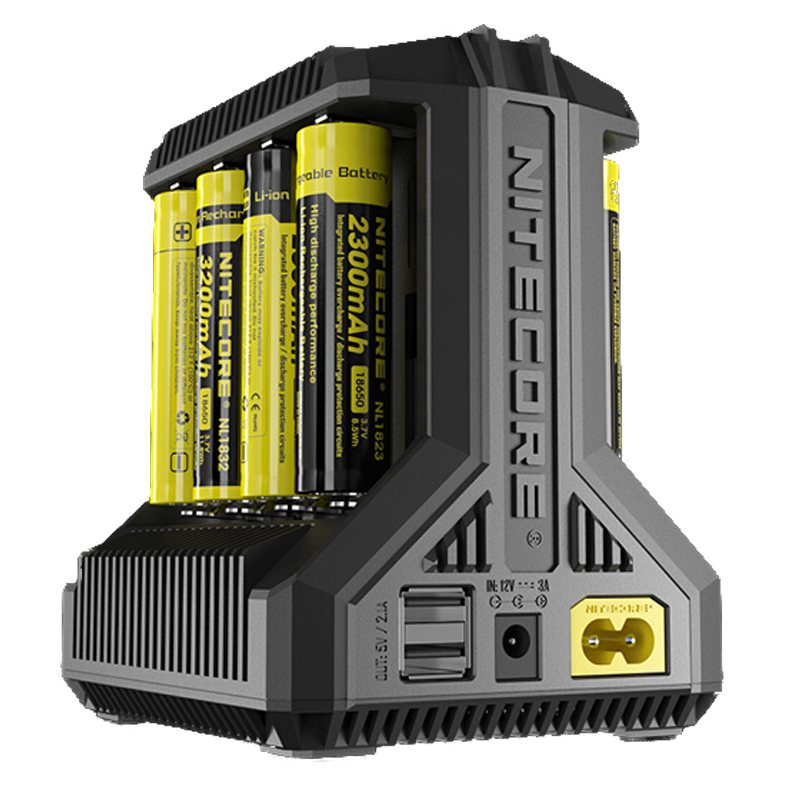 NITECORE Intellicharge I8 eight Bays Battery Charger Automatically Detects Monitors and Charges Each Slot Independently