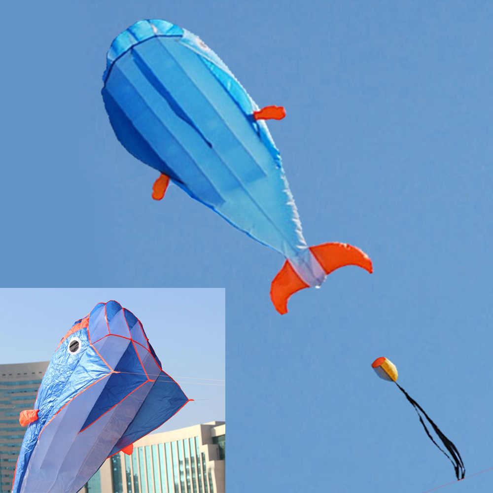 3D Enorme Parafoil Macio Gigante Golfinho Azul Pipa + 30 M Cabo linha Esporte Ao Ar Livre fácil de Voar Sem Moldura Esporte Ao Ar Livre Praia Camping