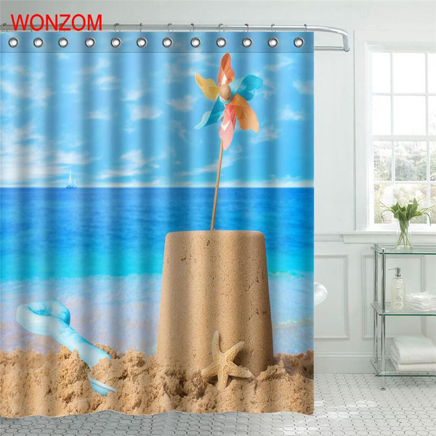 WONZOM Beach Sand Shower Curtain Fabric Bathroom Decor Decoration Cortina De Bano Polyester Blue Ocean Bath With Hooks