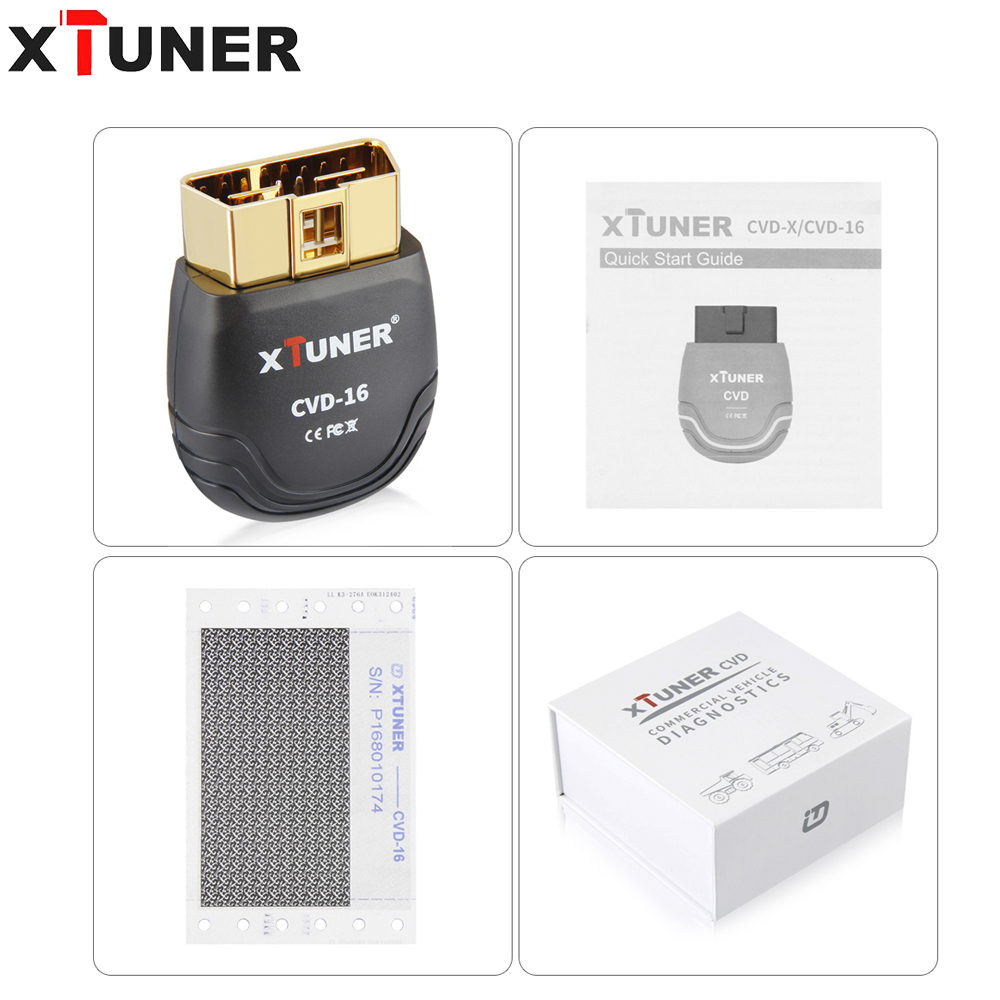 XTUNER CVD 16 for heavy duty diagnostic for Android System Support standard value of data stream online update OBD2 EOBD Scanner