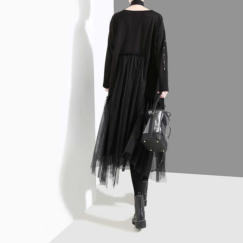 Nieuwe Plus Size 2020 Koreaanse Stijl Vrouwen Herfst Winter Zwart Losse Jurk Lange Mouwen Mesh Overlay Lady Casual Midi Jurk gewaad 4564
