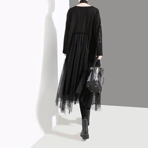 Image 5 - ใหม่Plusขนาด 2020 ผู้หญิงสไตล์เกาหลีฤดูใบไม้ร่วงฤดูหนาวสีดำชุดหลวมแขนยาวซ้อนทับตาข่ายLady Casual Midi Dress robe 4564