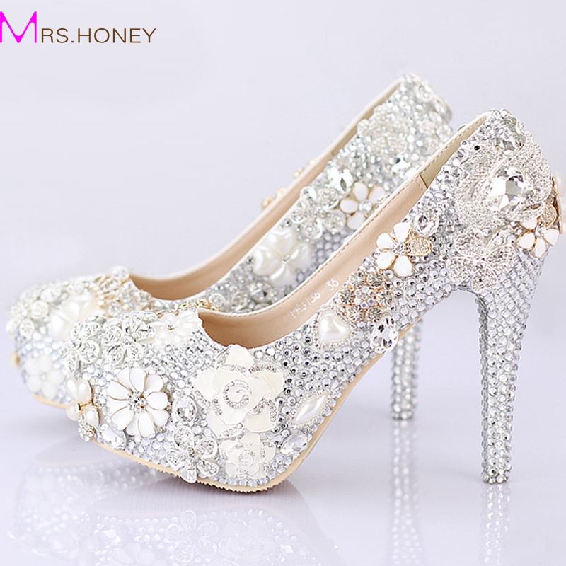 2016 gorgeous wedding shoes round toe silver rhinestone bridal dress shoes handmade jeweled crystal party prom amazing pumps