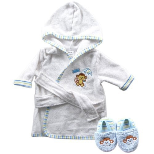 Luvable Friends 6 Designs Hooded Animal Modeling Baby Bathrobe with Baby Shoes 0-9 M Infant Bath Towels Baby Sleepwear & Robes (1)