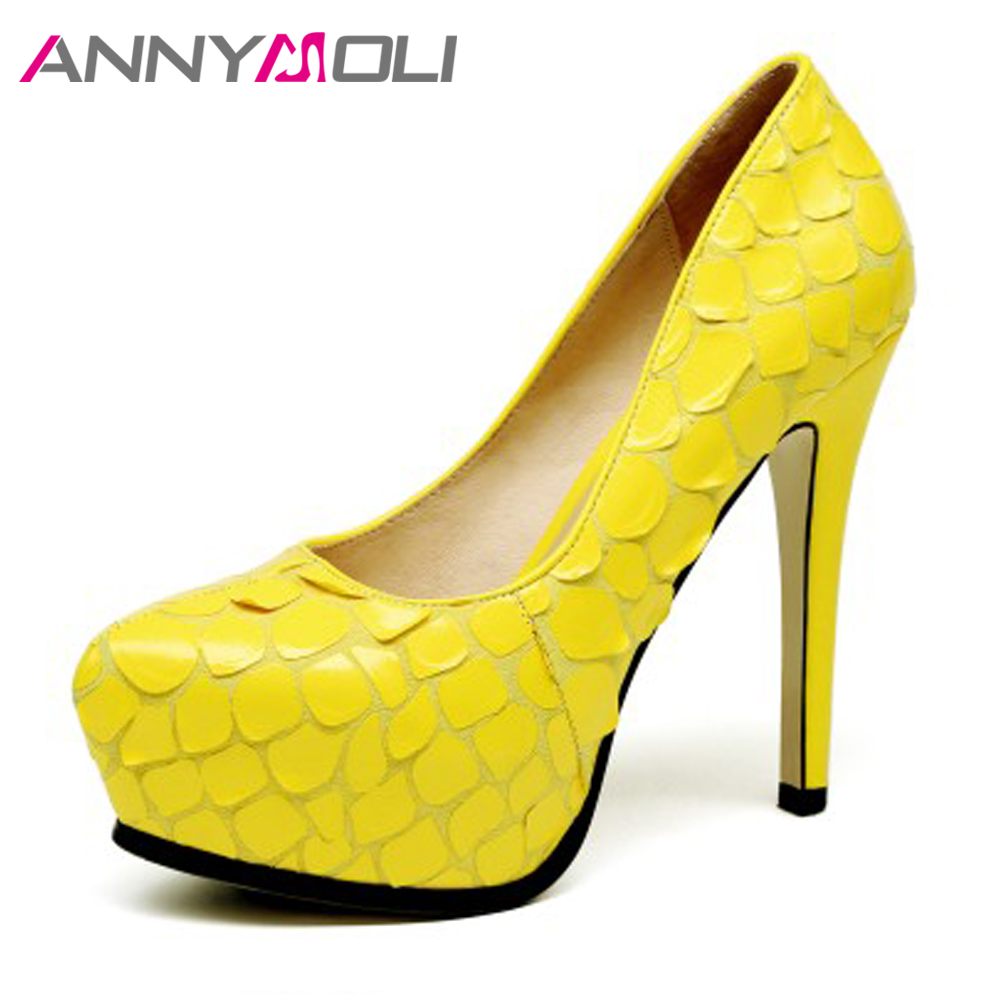 ANNYMOLI Extreme High Heels Platform Shoes Women Pumps Sexy Stiletto Party High Heels Fashion Evening Shoes Yellow Black 34-39 2018 fashion women round toe height platform extreme high heels shoes 16cm snake sexy pumps nightclub evening party