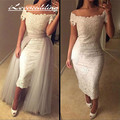 New Style Lace Wedding Dresses With Sleeves Off Shoulder Detachable Skirt 2016 Tea Length White Tulle Formal Bridal Dress Gown