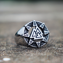 Triangle Odin Viking Valknut Rune Stainless Steel Ring Men Nordic Amulet Rings