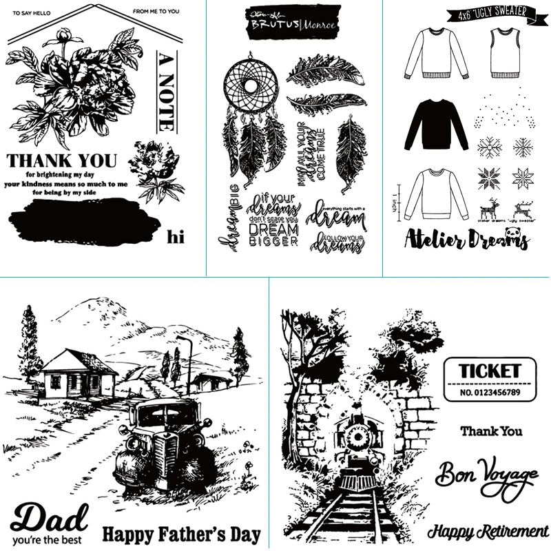 Country style theme design transparent silicone sealing strip sealed DIY scrapbook album decoration card making clear seal in Stamps from Home Garden