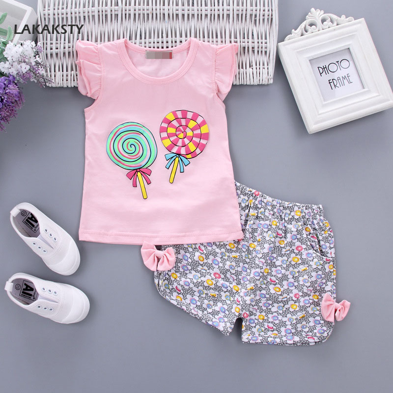LAKAKSTY Kids Girls Clothing Sets 2018 Summer Baby Clothes Sweet Candy Style T Shirt Shorts 2pcs