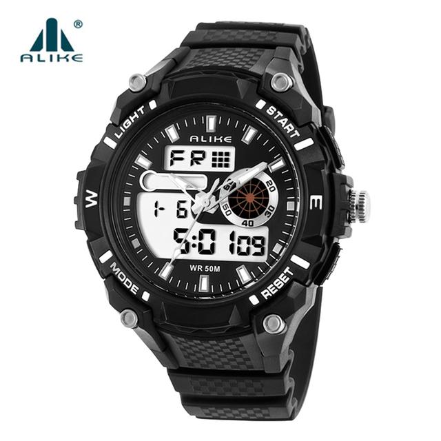 Alike led electrónica reloj 2016 nuevo reloj mujeres de los hombres 50 m impermeable doble movimiento de cuarzo digital relojes deportivos banda de goma