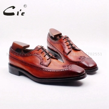 cie Free Shipping Bespoke Custom Handmade Full Brogues Lace up Derby Men Shoe Hand Painted Brown