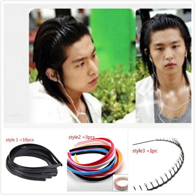 Apparel Accessories 2 Pc Unisex Mens Women Black Wavy Hair Head Hoop Band Headband Hairband Fashion Hair Band Accessories Xth171-1