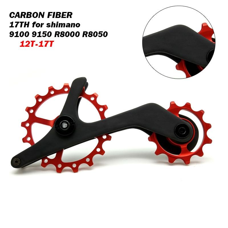 Fiber De carbone Vélo Dérailleur Arrière Poulies Roulements En Céramique pour Shimano RD 9100 9150 R8000 R8050