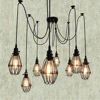 2017 Black Cable Unique Style Edison Ceilling Lamp Vintage Bird Cage Deco Chandeliers 5 6 8