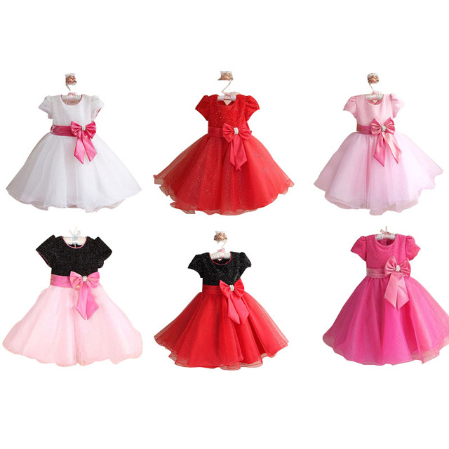 Sequined Bow Girl Party Wedding Dress Short Sleeve Baby Princess 2 12
