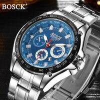 BOSCK Top Famous Brand Business Men Watches Black Luminous Army Full Steel Quartz Watch Men Waterproof