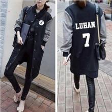 exo kpop clothes collective Album baseball uniform jacket long sections sleeved Hoodie student Autumn k-pop exo women Sweatshirt