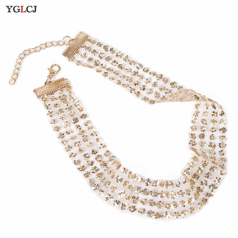 Vente 1PC or cristal sexy sequin collier pour femmes chocker clavicule chaîne femme cou bijoux
