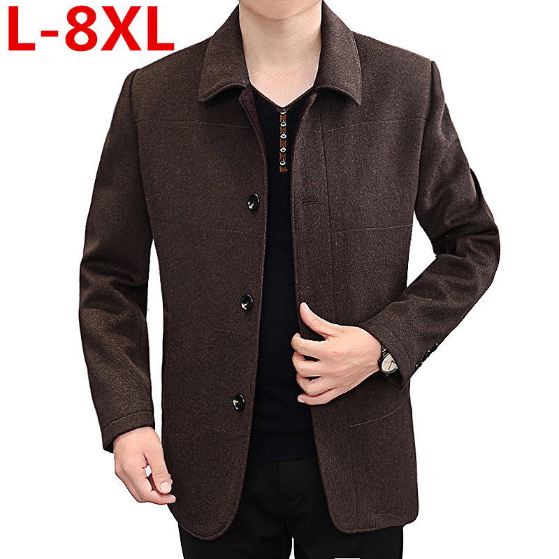 big size 8XLstyle winter Mens casual fashion coats business thicken trench coat Mens woolen jacketssingle breasted trench coat