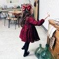 2016 весна девушки одевает красное вино полный высокое качество длинным рукавом длиной до колен обратно с бантом принцесса дети одеваются Vestido для 2-8Y