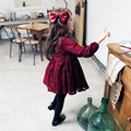 2016 Spring Girls Dresses Red Wine Full Lace High Quality Long Sleeve Knee Length Back Bow Princess Kids Dress Vestido For 2-8Y