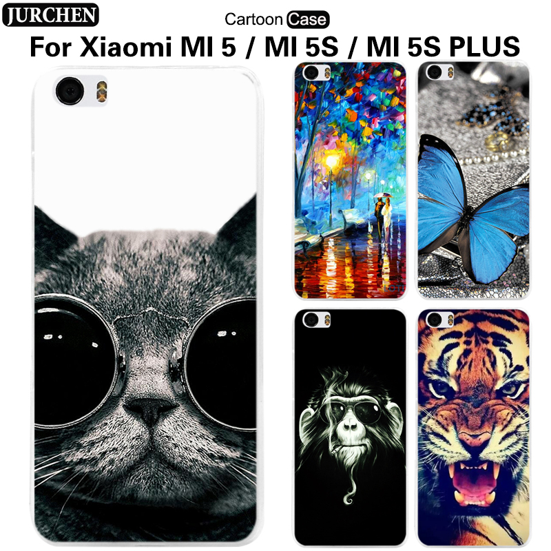 JURCHEN Case For Xiaomi MI5 MI 5S Plus Case Cartoon Soft Silicone Back Cover For Xiaomi mi5s plus mi 5 s m5splus mi5 pro Cover