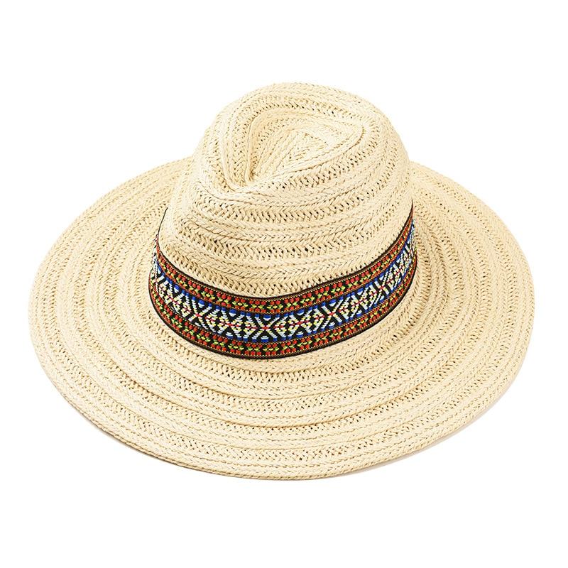 10pcs lot 01901 YJ247 new Bohemian ribbon leisure lady straw fedoras hat women panama cap wholesale