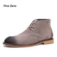 Fine Zero 100 Genuine Leather Vintage Style Chelsea Boots Top Quality Suede Leathe Men Shoes Luxury