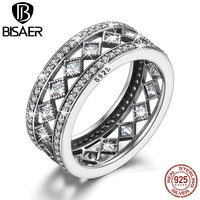 VOROCO Hotsale 925 Sterling Silver Square Vintage Fascination Clear CZ Big Ring For Women Luxury Fashion