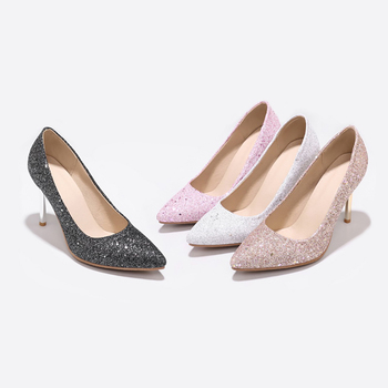 Pink Glitter Pumps | Brand New Hot Sales Pink Silver Women Glitter Pumps Stiletto Heels Gold Lady Wedding Shoes JF19 Plus Big Small Size 45 48 30 10