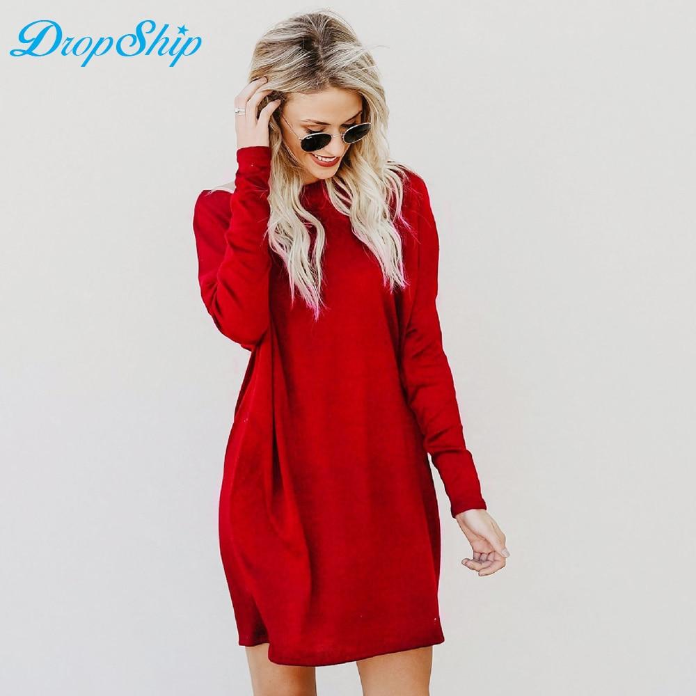 Dropship Solid Loose Knitted Sweater Dress Women Casual Long Sleeve Pockets Short Dress Streetwear Warm Winter Dresses Vestidos