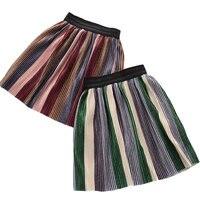 2018 Spring New Toddler Girls Rainbow Tutu Skirt Korean Velvet Pleated Skirts For Kids Girls Children