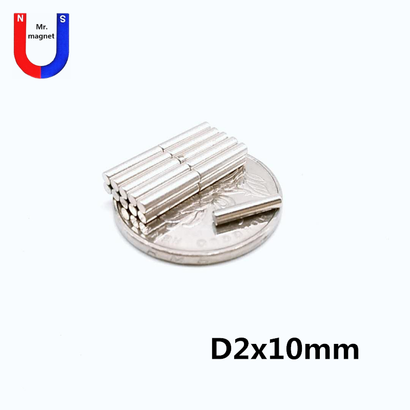 300pcs D2x10 neodymium magnet 2*10 super strong permanent magnet crafts <font><b>2x10</b></font> mm Mini small round magnet cylinder image