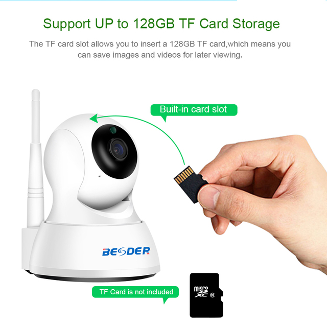 BESDER Full HD 1080P IP Camera Wireless Home Security Camera HD 720P Baby Monitor Night Vision CCTV WiFi Camera 1M / 3M cables