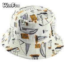 Winfox doble lado Blanco marino velero pescador sombrero del cubo hembra  sombreros mujeres hombres Hip Hop 3da35f596ef