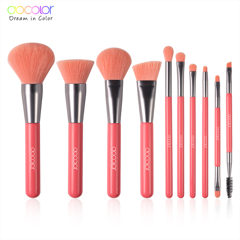 Docolor 10Pcs Makeup Brush Kit for Applying Makeup on Eye Eyebrows Cheeks and Full Face 1