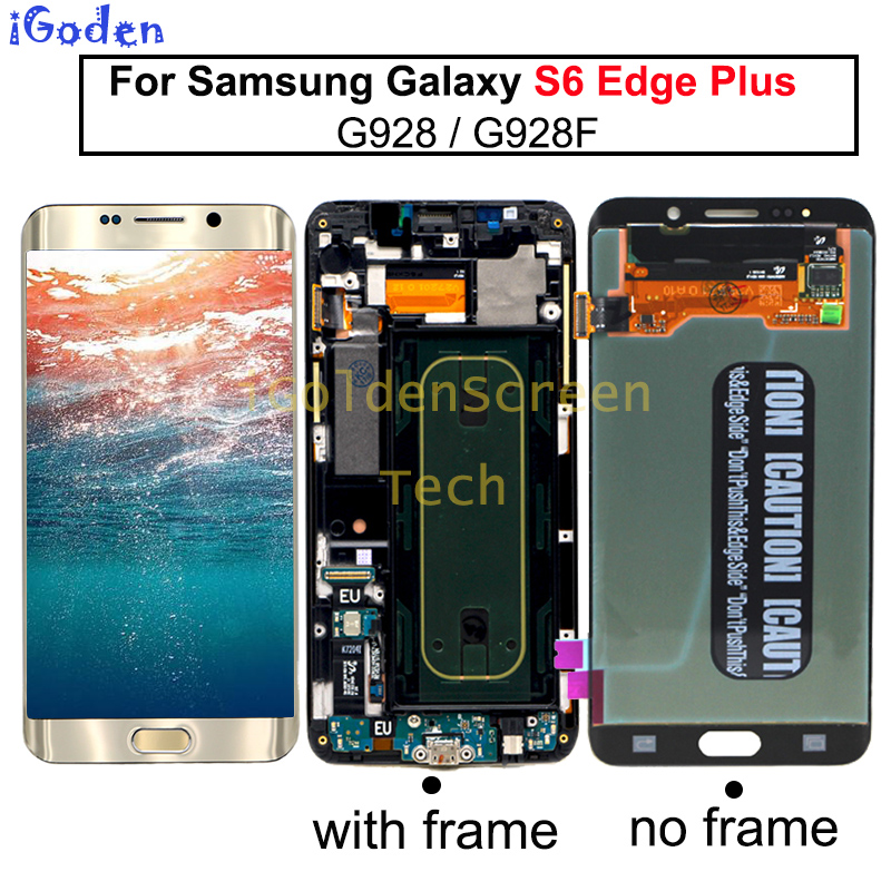 For Samsung Galaxy S6 Edge Plus LCD G928 G928F Display Touch Screen Assembly with Frame For