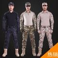 Hombres exterior táctico ropa de camuflaje uniforme camisas militares de combate pantalones conjuntos Wargame gancho y bucle camiseta apretada